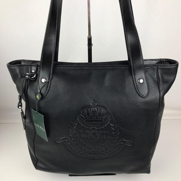 Ralph Lauren Bags   Putnam Crown Crest Black Leather Tote   Poshmark d10c16c8d5
